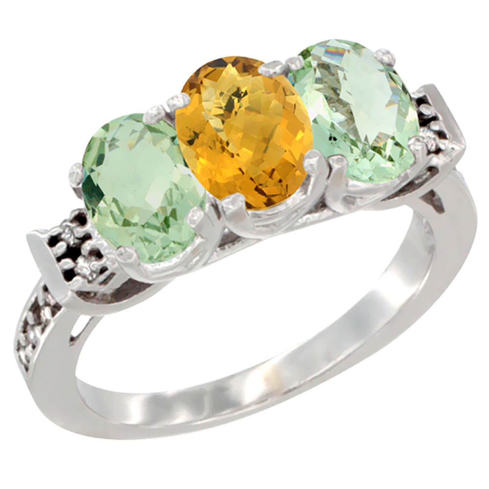 10K White Gold Natural Whisky Quartz & Green Amethyst Sides Ring 3-Stone Oval 7x5 mm Diamond Accent, sizes 5 - 10