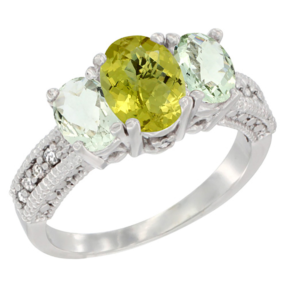 14K White Gold Diamond Natural Lemon Quartz Ring Oval 3-stone with Green Amethyst, sizes 5 - 10