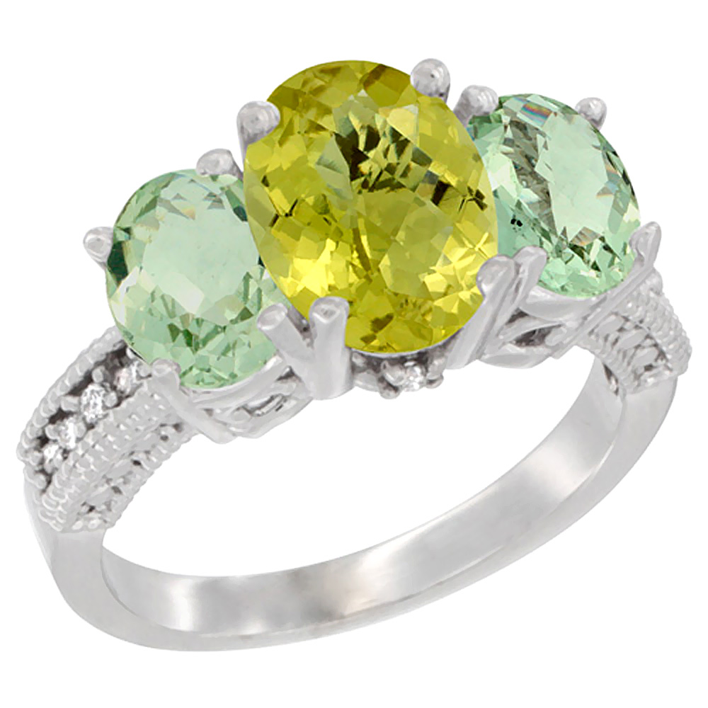10K White Gold Natural Lemon Quartz Ring Ladies 3-Stone 8x6 Oval with Green Amethyst Sides Diamond Accent, sizes 5 - 10