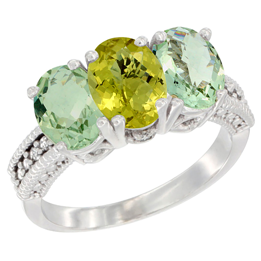 14K White Gold Natural Lemon Quartz & Green Amethyst Sides Ring 3-Stone 7x5 mm Oval Diamond Accent, sizes 5 - 10