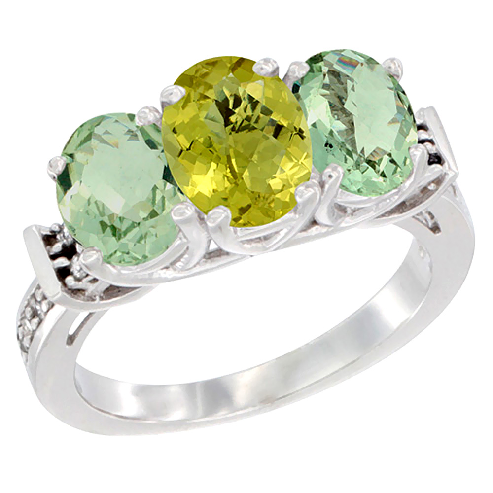 14K White Gold Natural Lemon Quartz & Green Amethyst Sides Ring 3-Stone Oval Diamond Accent, sizes 5 - 10