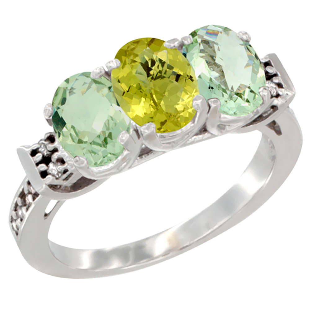10K White Gold Natural Lemon Quartz & Green Amethyst Sides Ring 3-Stone Oval 7x5 mm Diamond Accent, sizes 5 - 10