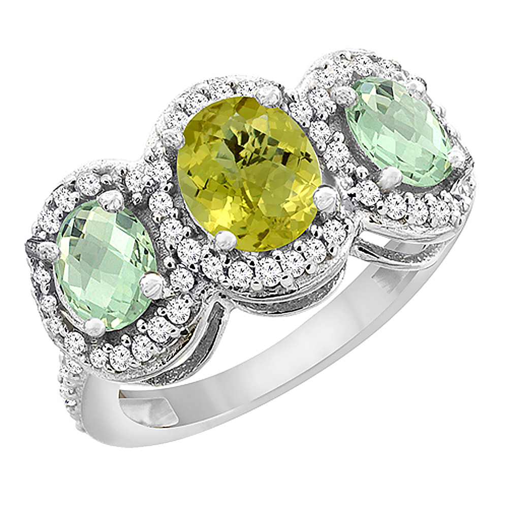 14K White Gold Natural Lemon Quartz & Green Amethyst 3-Stone Ring Oval Diamond Accent, sizes 5 - 10
