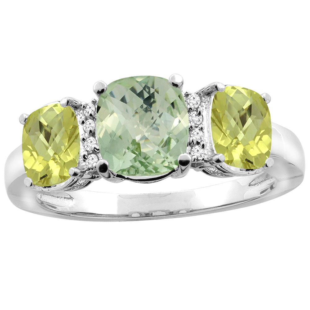 14K White Gold Natural Green Amethyst & Lemon Quartz 3-stone Ring Cushion 8x6mm Diamond Accent, sizes 5 - 10