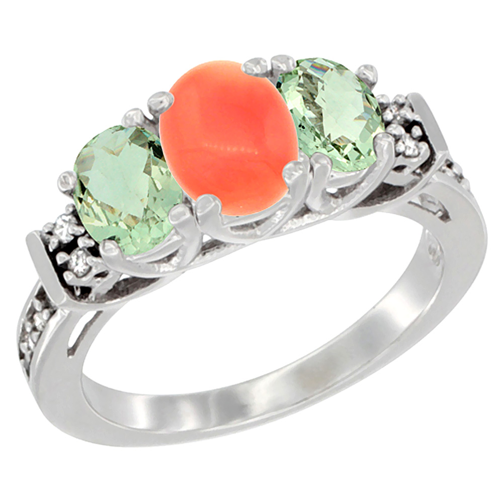 10K White Gold Natural Coral & Green Amethyst Ring 3-Stone Oval Diamond Accent, sizes 5-10