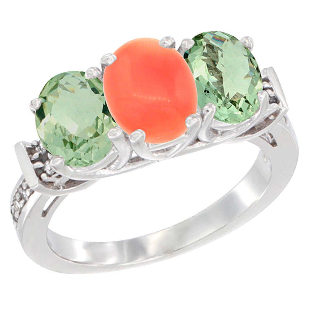 10K White Gold Natural Coral & Green Amethyst Sides Ring 3-Stone Oval Diamond Accent, sizes 5 - 10