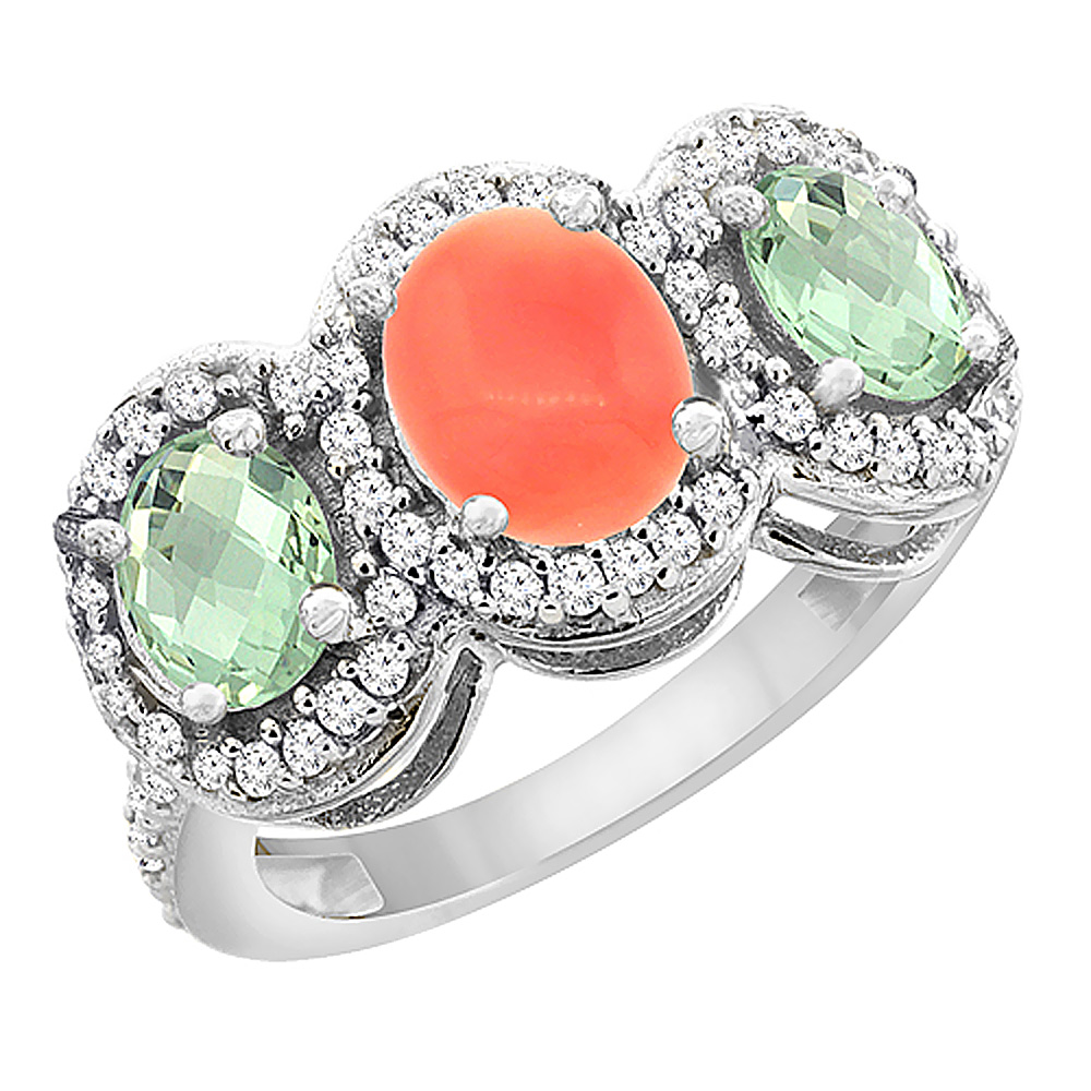 14K White Gold Natural Coral & Green Amethyst 3-Stone Ring Oval Diamond Accent, sizes 5 - 10
