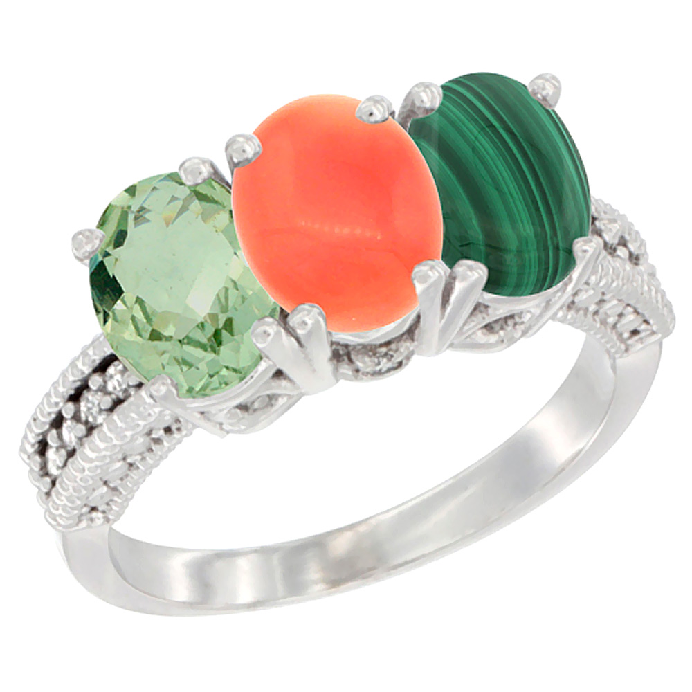 14K White Gold Natural Green Amethyst, Coral & Malachite Ring 3-Stone 7x5 mm Oval Diamond Accent, sizes 5 - 10
