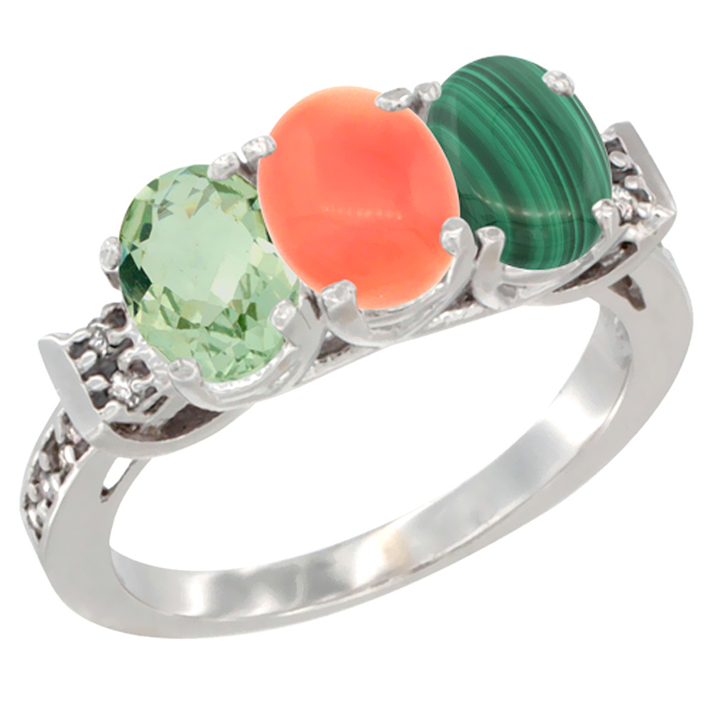 10K White Gold Natural Green Amethyst, Coral & Malachite Ring 3-Stone Oval 7x5 mm Diamond Accent, sizes 5 - 10