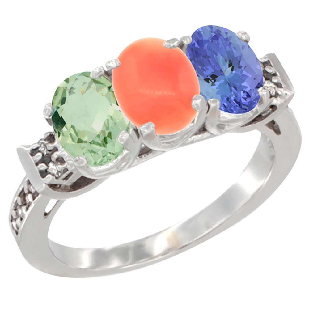 14K White Gold Natural Green Amethyst, Coral & Tanzanite Ring 3-Stone 7x5 mm Oval Diamond Accent, sizes 5 - 10