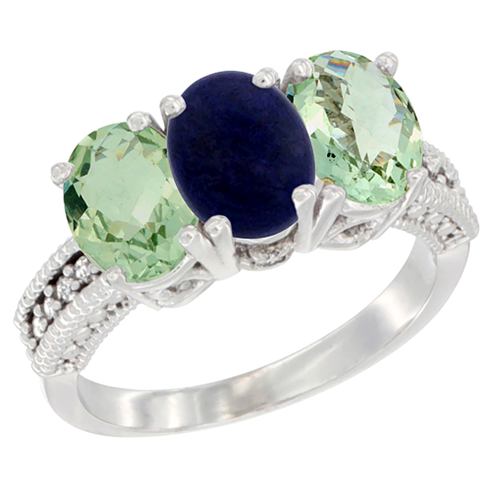 10K White Gold Natural Lapis & Green Amethyst Sides Ring 3-Stone Oval 7x5 mm Diamond Accent, sizes 5 - 10