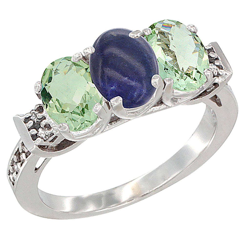 14K White Gold Natural Lapis & Green Amethyst Sides Ring 3-Stone 7x5 mm Oval Diamond Accent, sizes 5 - 10