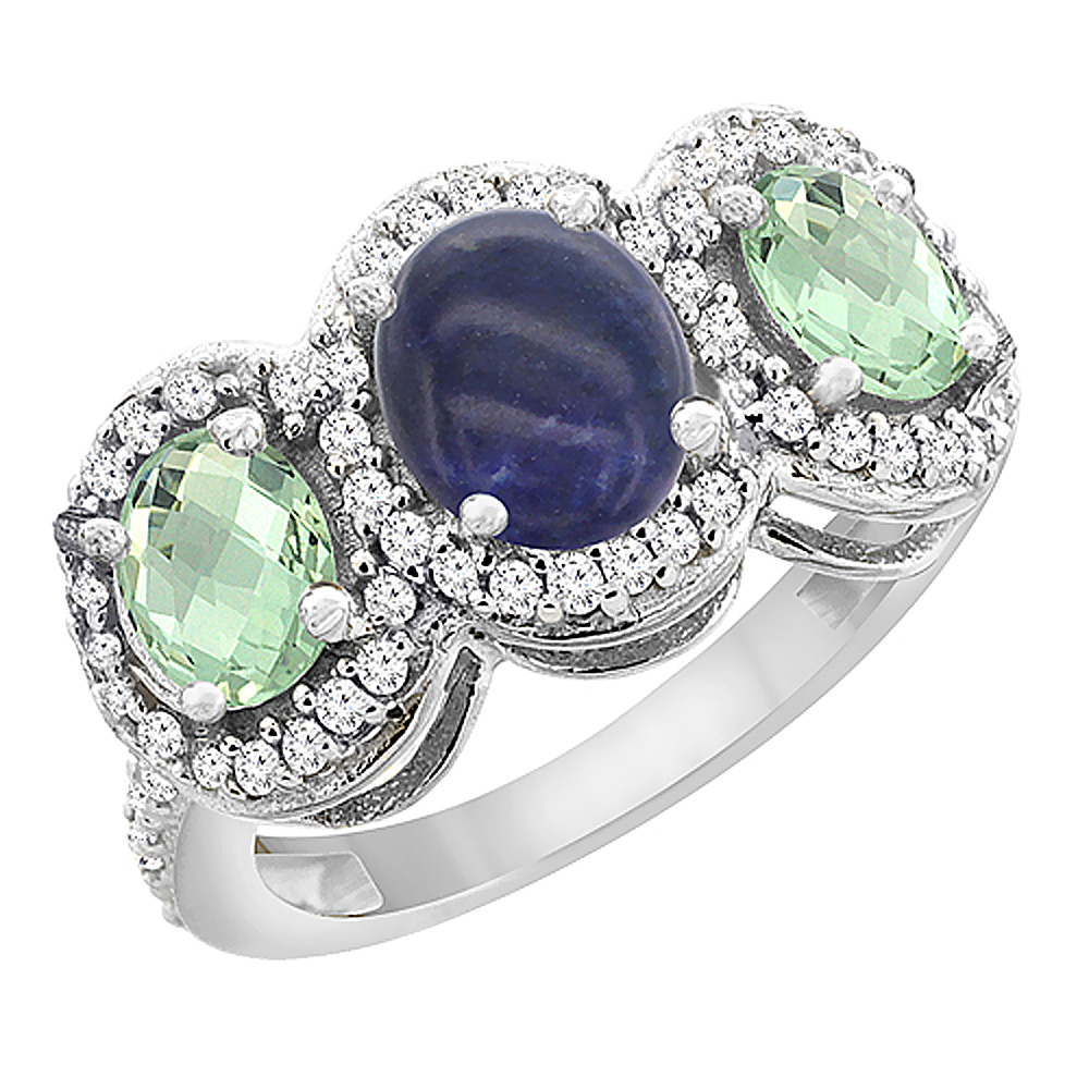 10K White Gold Natural Lapis & Green Amethyst 3-Stone Ring Oval Diamond Accent, sizes 5 - 10