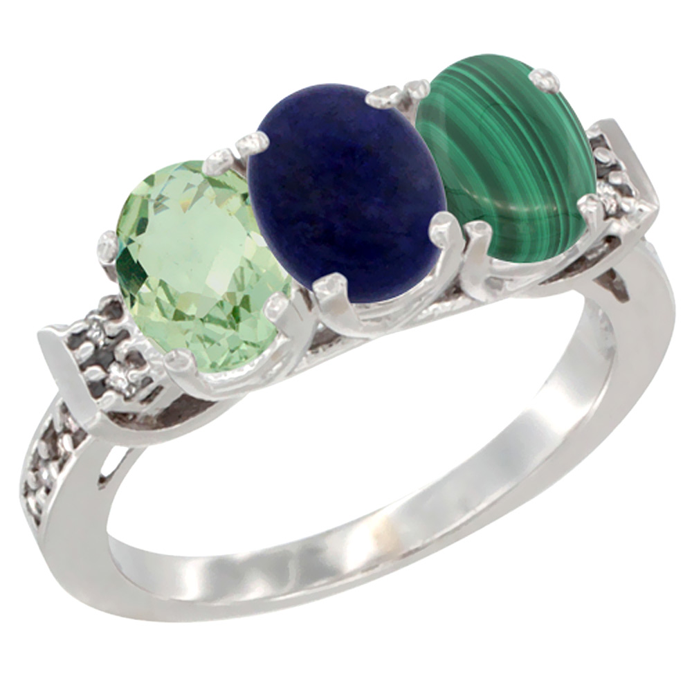 14K White Gold Natural Green Amethyst, Lapis & Malachite Ring 3-Stone 7x5 mm Oval Diamond Accent, sizes 5 - 10