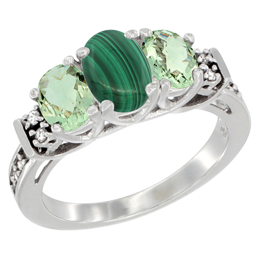 14K White Gold Natural Malachite & Green Amethyst Ring 3-Stone Oval Diamond Accent, sizes 5-10