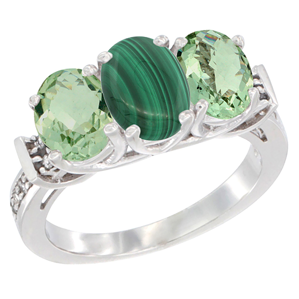 10K White Gold Natural Malachite & Green Amethyst Sides Ring 3-Stone Oval Diamond Accent, sizes 5 - 10