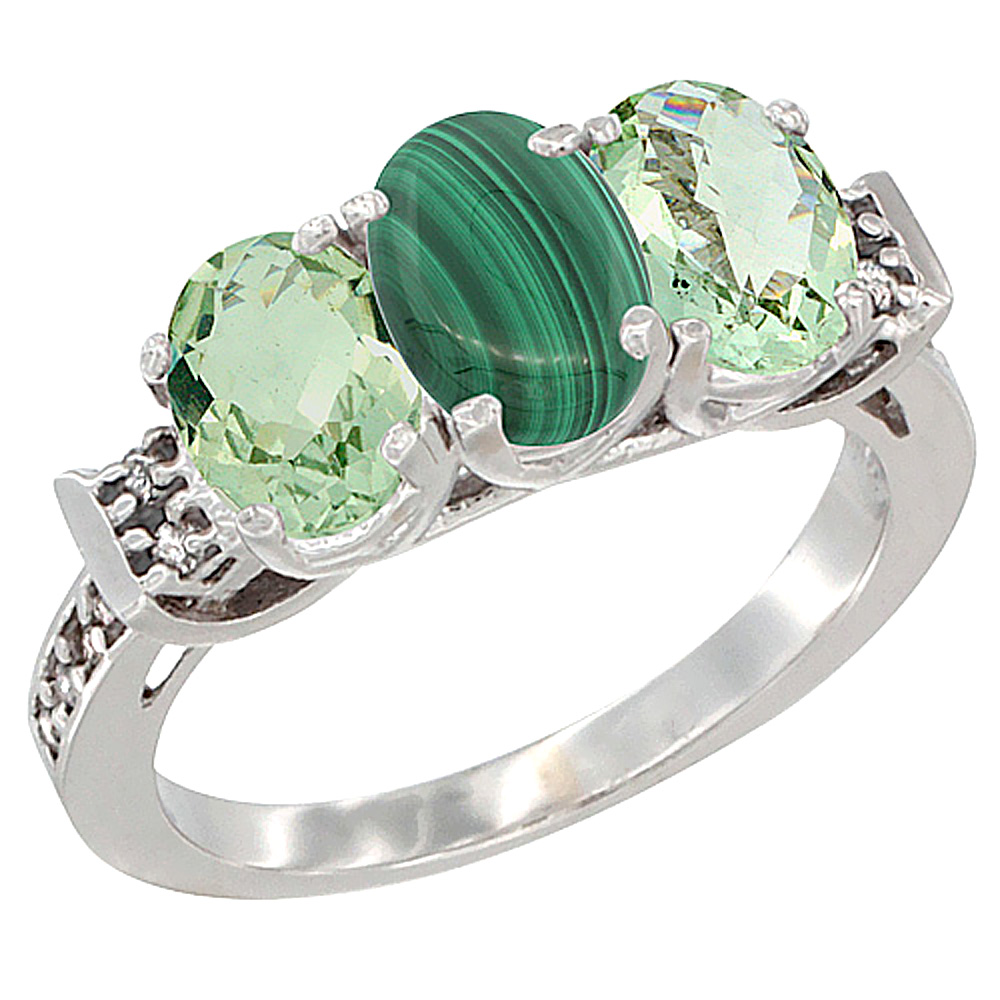 14K White Gold Natural Malachite & Green Amethyst Sides Ring 3-Stone 7x5 mm Oval Diamond Accent, sizes 5 - 10