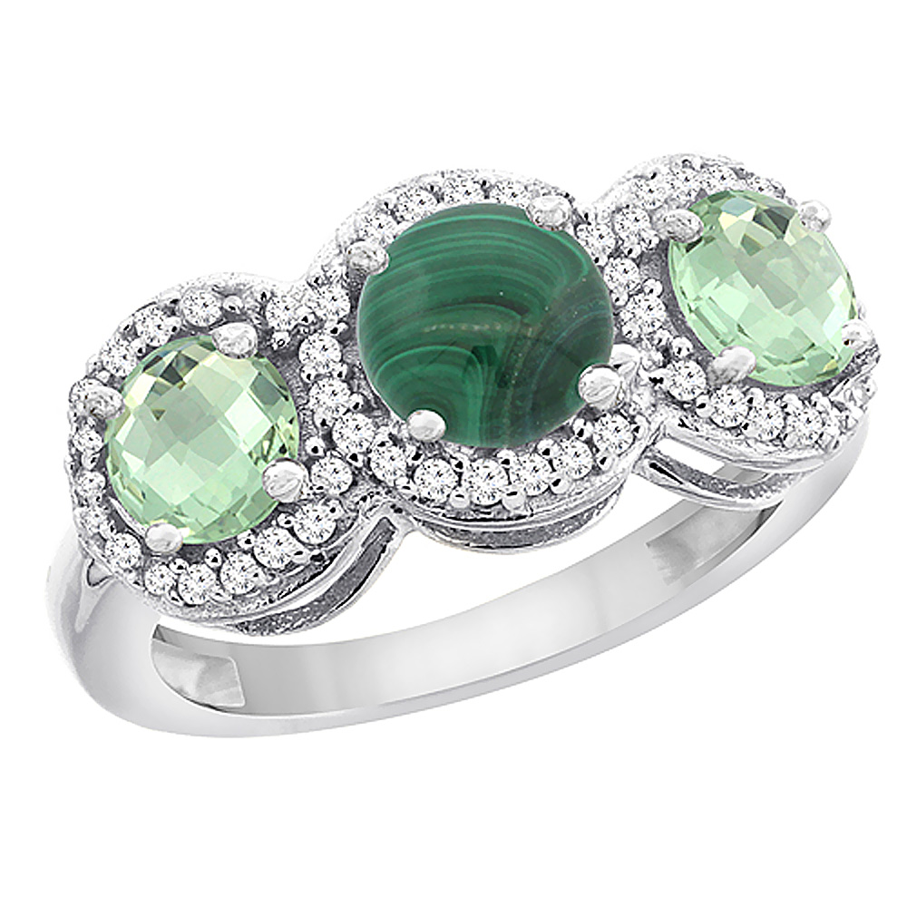 10K White Gold Natural Malachite & Green Amethyst Sides Round 3-stone Ring Diamond Accents, sizes 5 - 10
