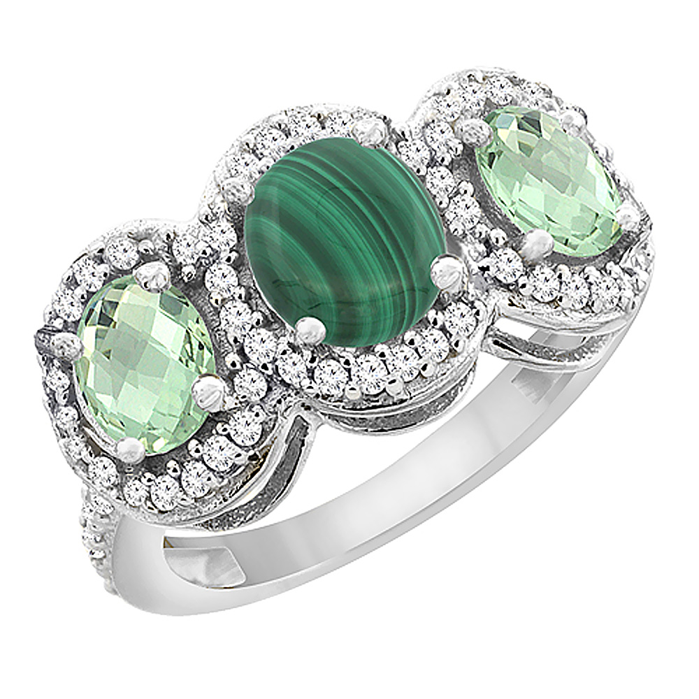 10K White Gold Natural Malachite & Green Amethyst 3-Stone Ring Oval Diamond Accent, sizes 5 - 10