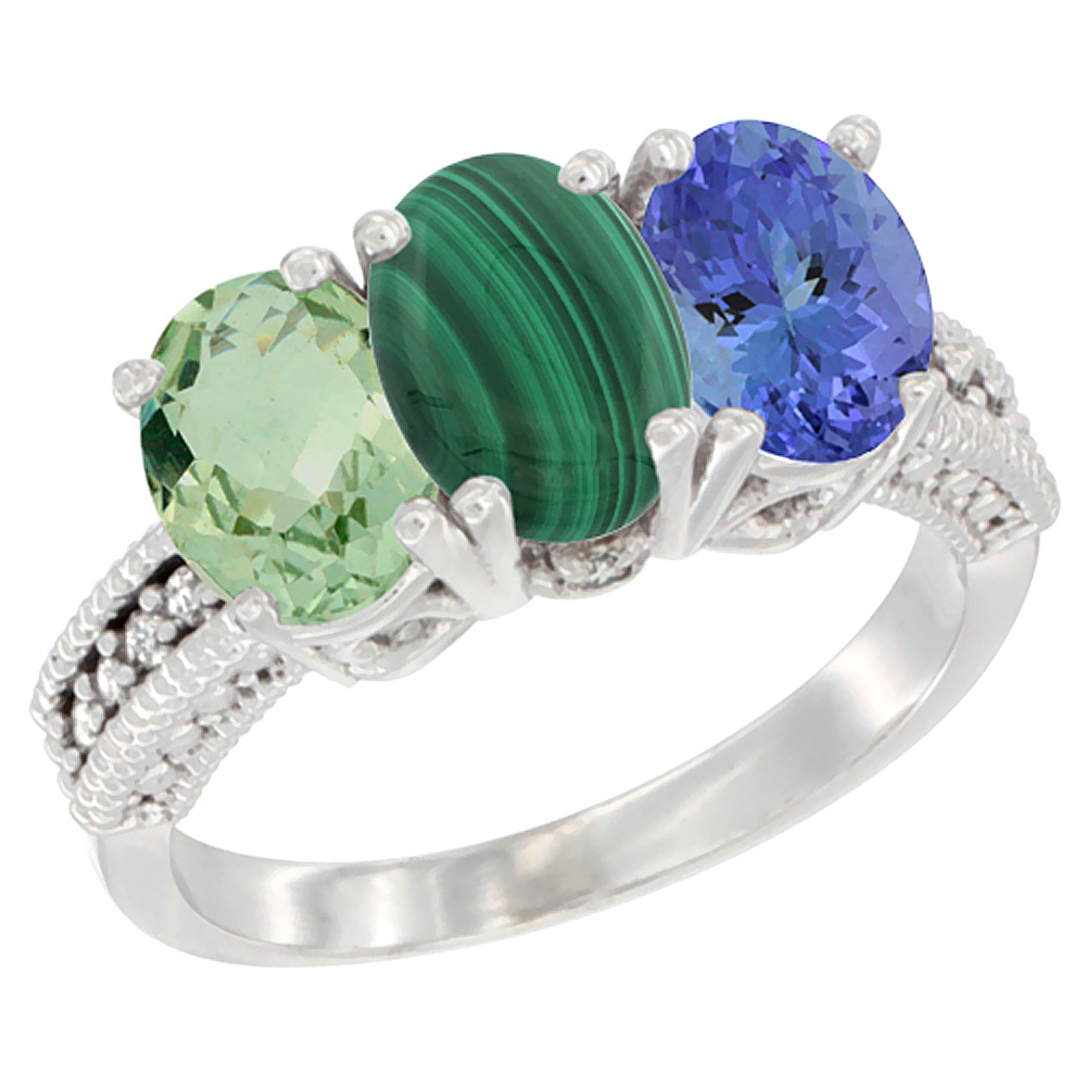 10K White Gold Natural Green Amethyst, Malachite & Tanzanite Ring 3-Stone Oval 7x5 mm Diamond Accent, sizes 5 - 10