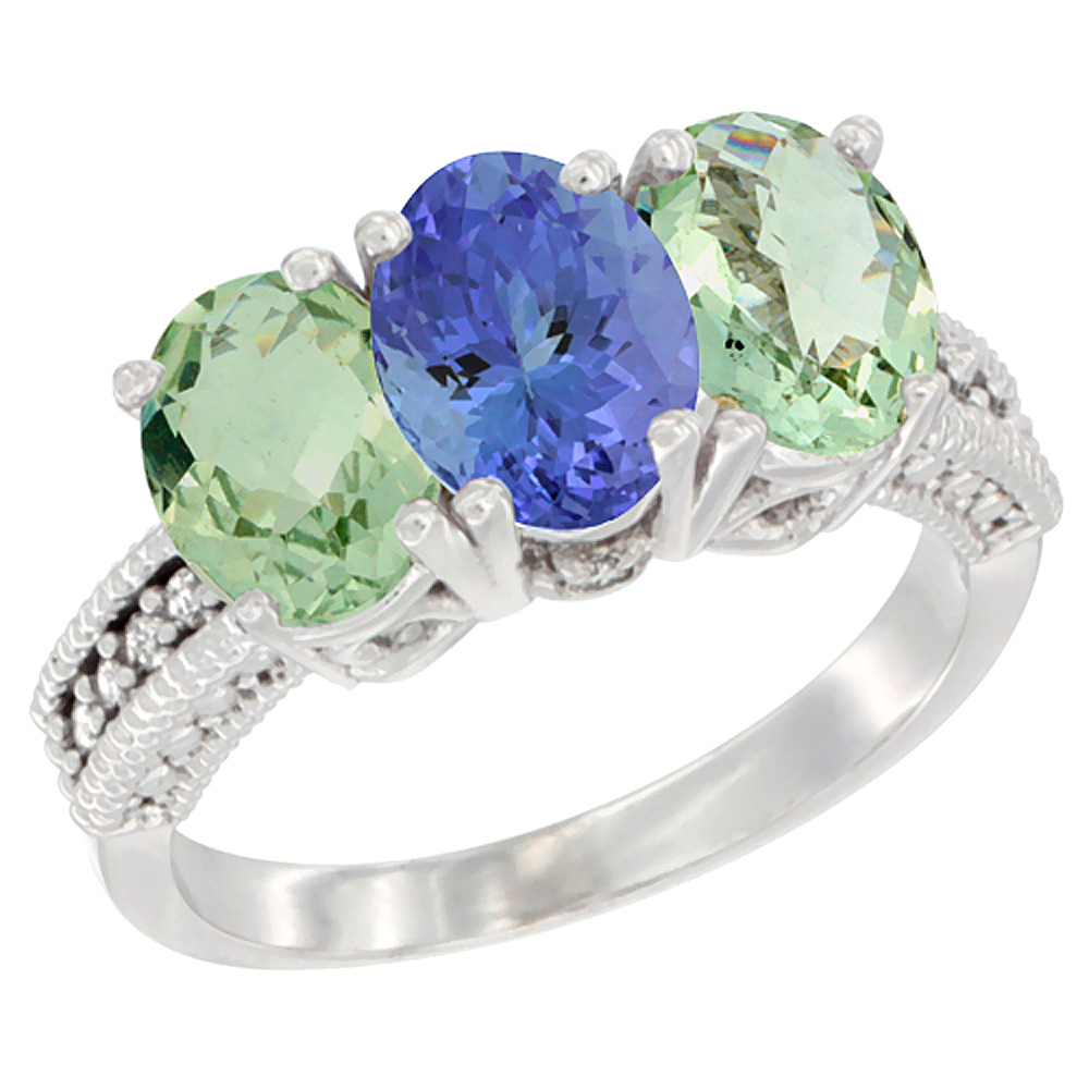 14K White Gold Natural Tanzanite & Green Amethyst Sides Ring 3-Stone 7x5 mm Oval Diamond Accent, sizes 5 - 10