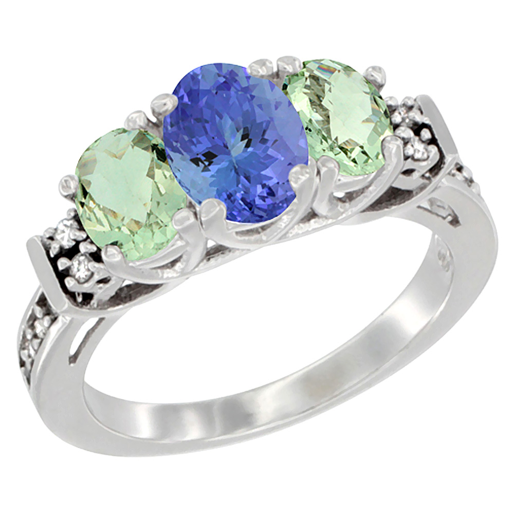 14K White Gold Natural Tanzanite & Green Amethyst Ring 3-Stone Oval Diamond Accent, sizes 5-10
