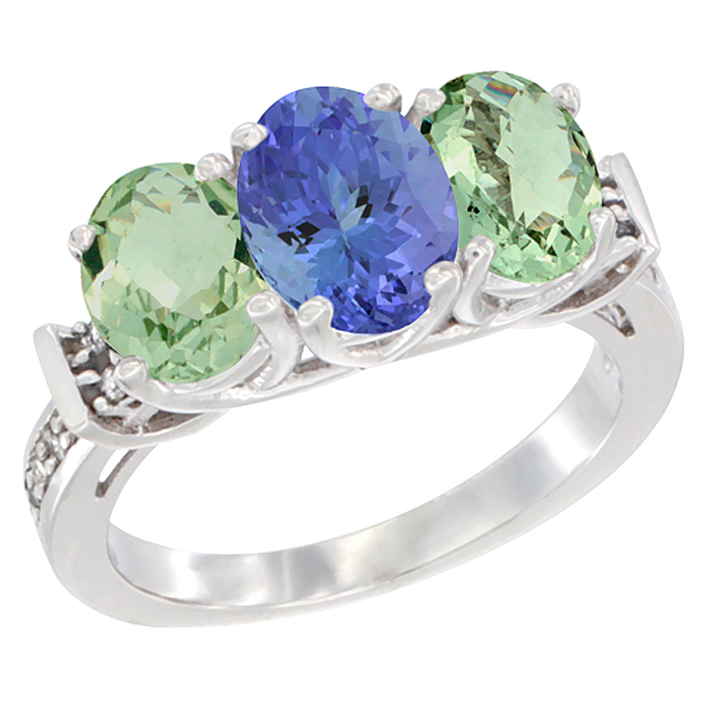 10K White Gold Natural Tanzanite & Green Amethyst Sides Ring 3-Stone Oval Diamond Accent, sizes 5 - 10