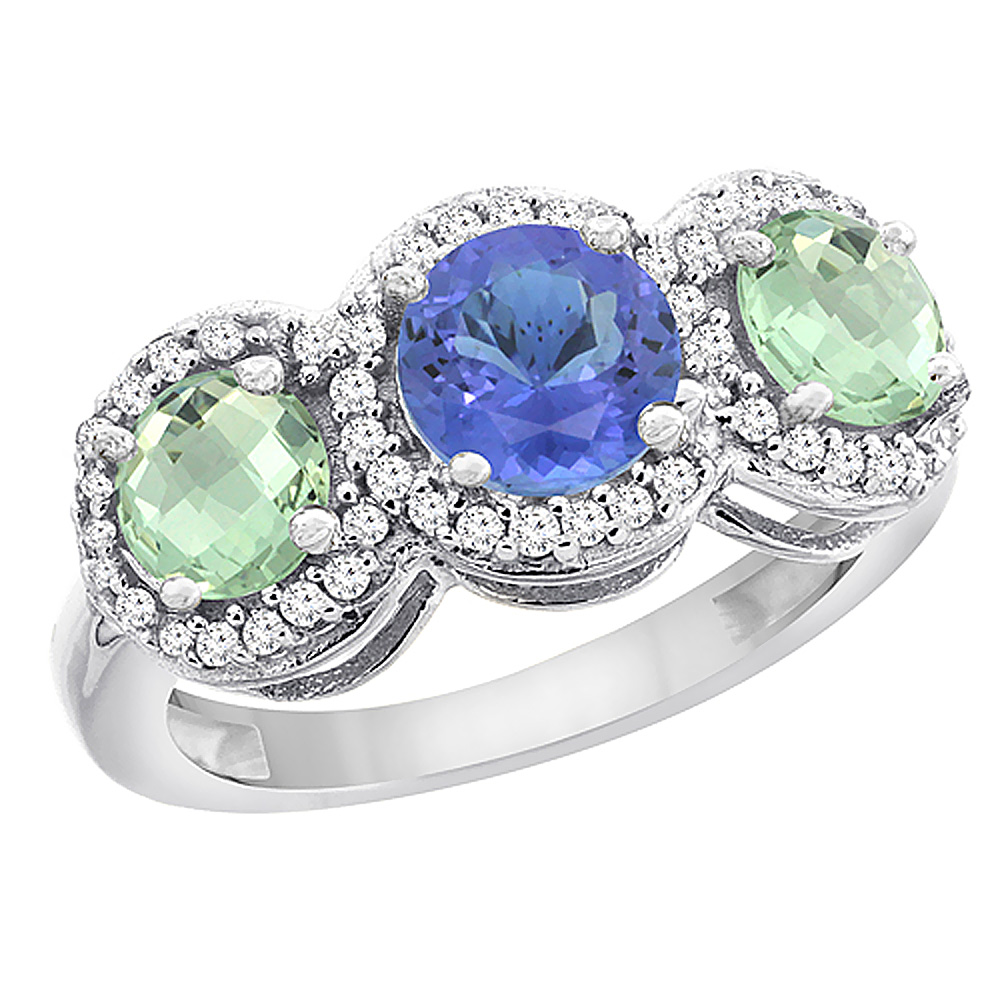 14K White Gold Natural Tanzanite & Green Amethyst Sides Round 3-stone Ring Diamond Accents, sizes 5 - 10