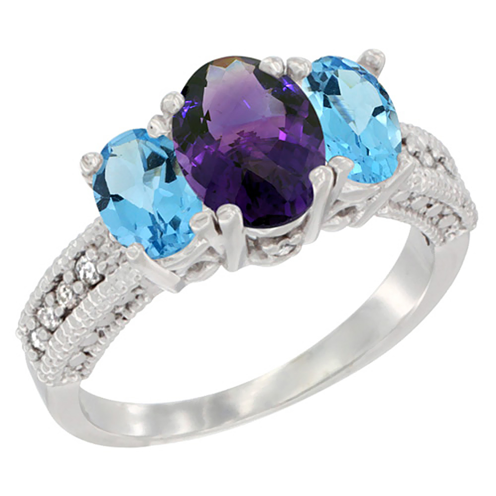 14K White Gold Diamond Natural Amethyst Ring Oval 3-stone with Swiss Blue Topaz, sizes 5 - 10