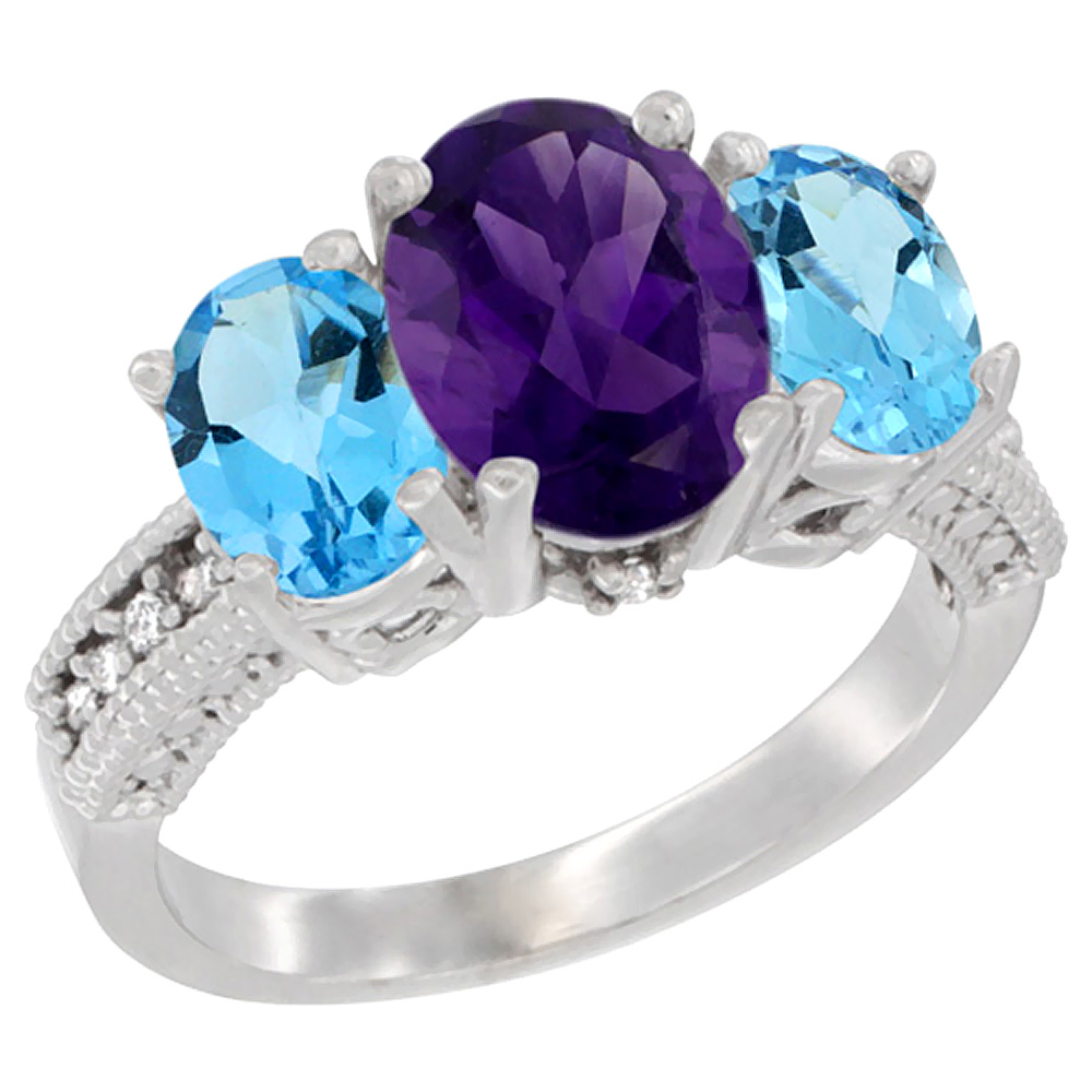 10K White Gold Natural Amethyst Ring Ladies 3-Stone 8x6 Oval with Swiss Blue Topaz Sides Diamond Accent, sizes 5 - 10