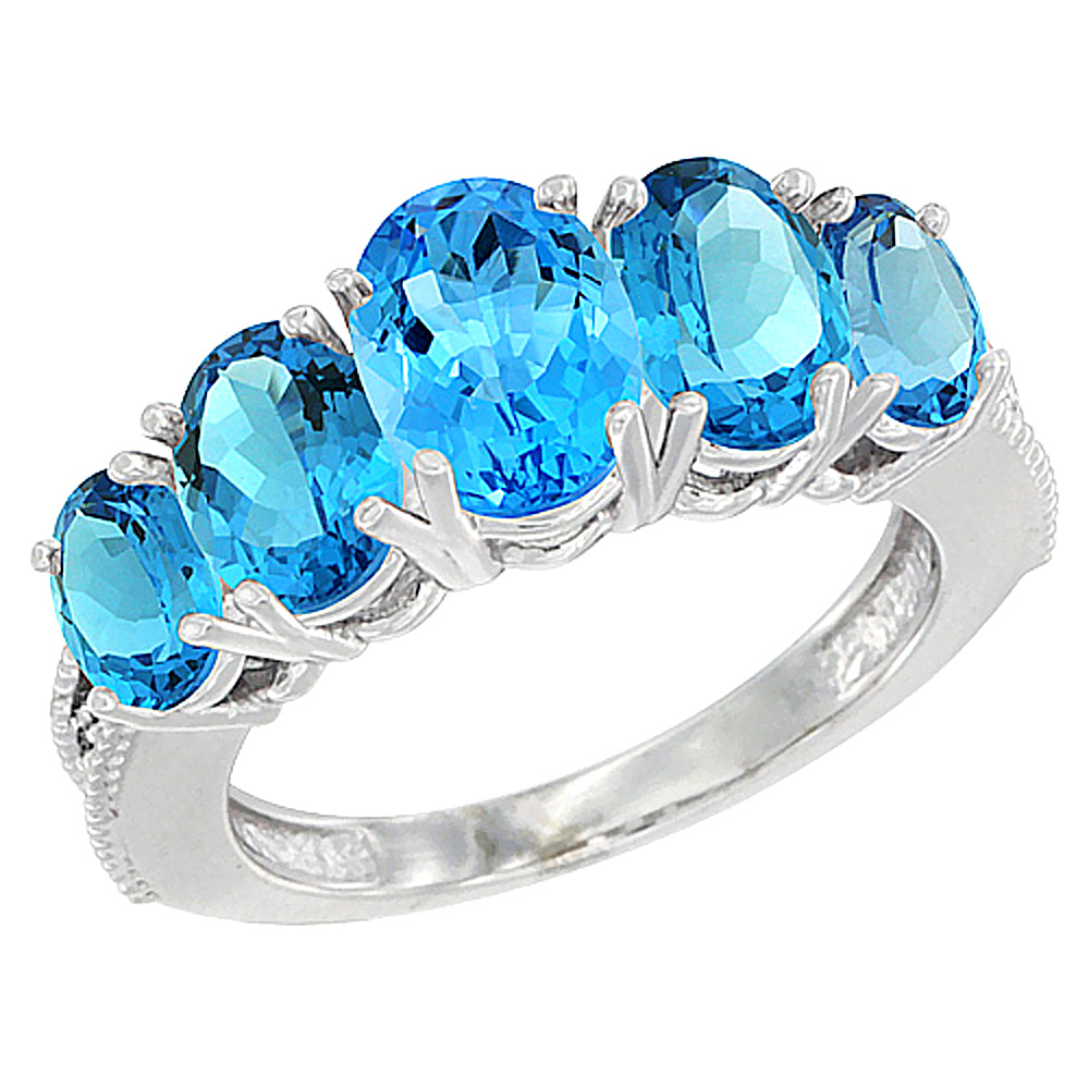 14K White Gold Diamond Natural Swiss Blue Topaz Ring 5-stone Oval 8x6 Ctr,7x5,6x4 sides, sizes 5 - 10