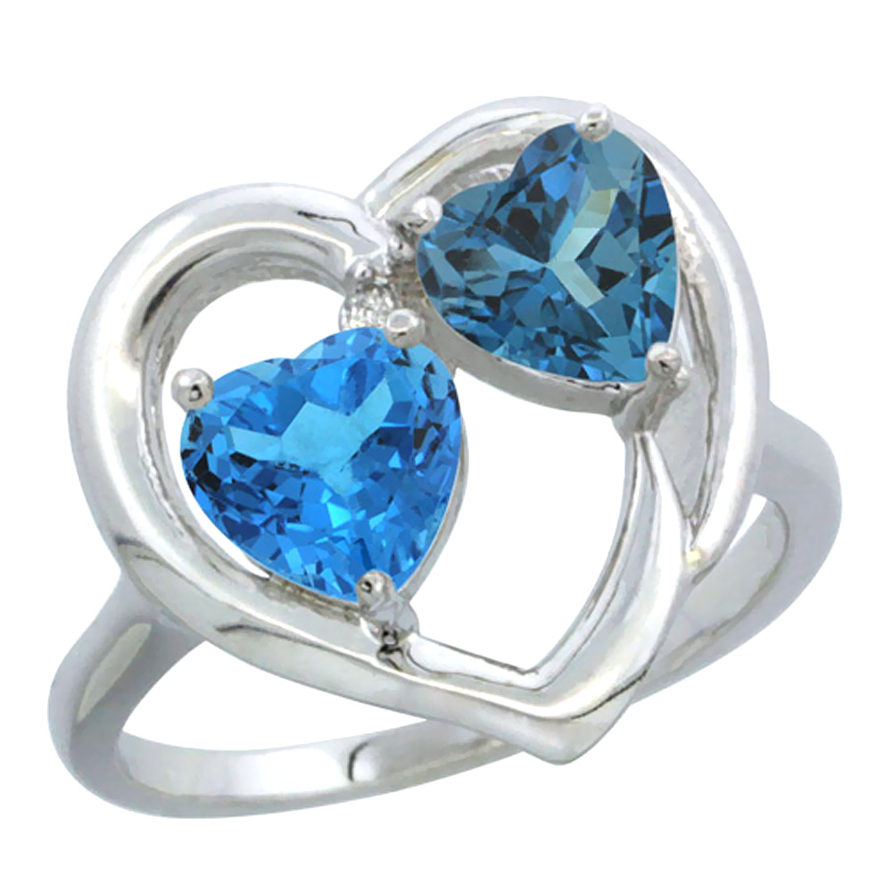 14K White Gold Diamond Two-stone Heart Ring 6mm Natural Swiss Blue & London Blue Topaz, sizes 5-10