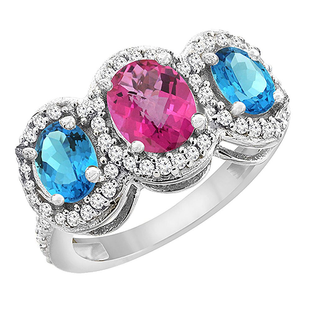 14K White Gold Natural Pink Sapphire & Swiss Blue Topaz 3-Stone Ring Oval Diamond Accent, sizes 5 - 10