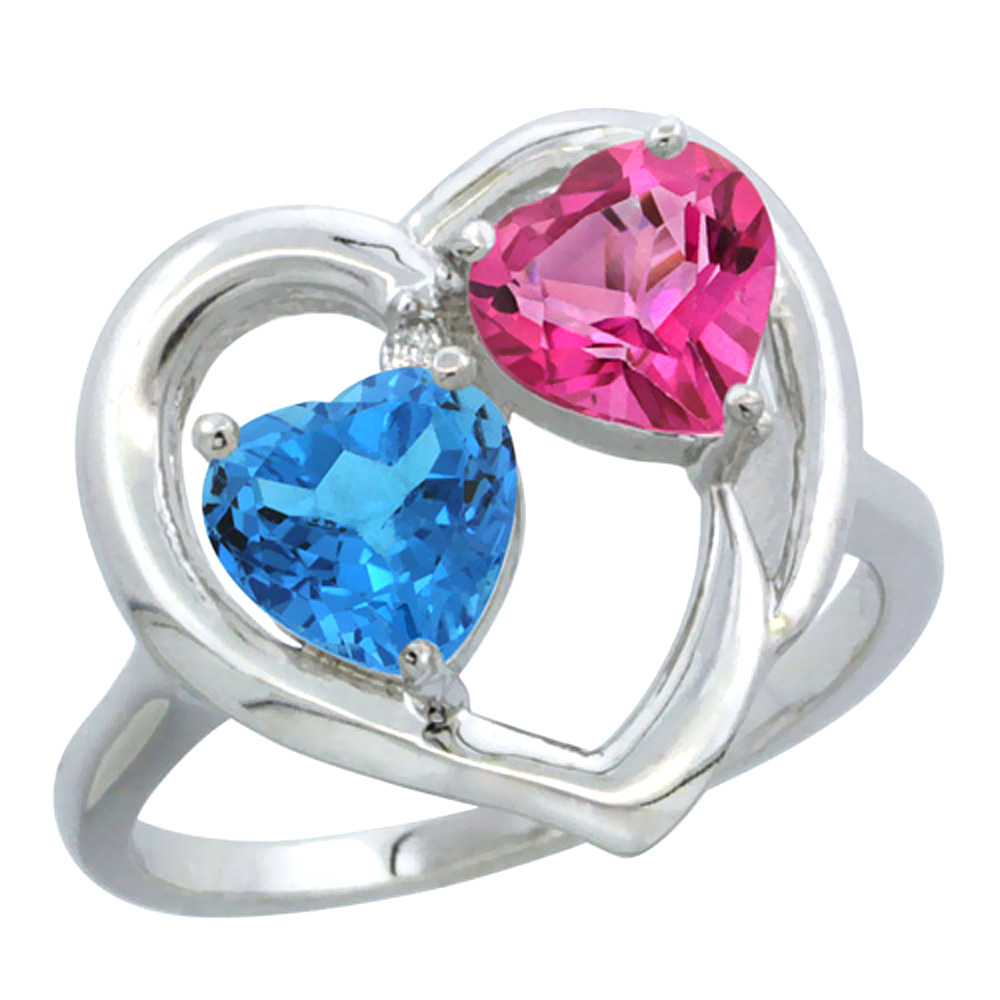 14K White Gold Diamond Two-stone Heart Ring 6mm Natural Swiss Blue & Pink Topaz, sizes 5-10
