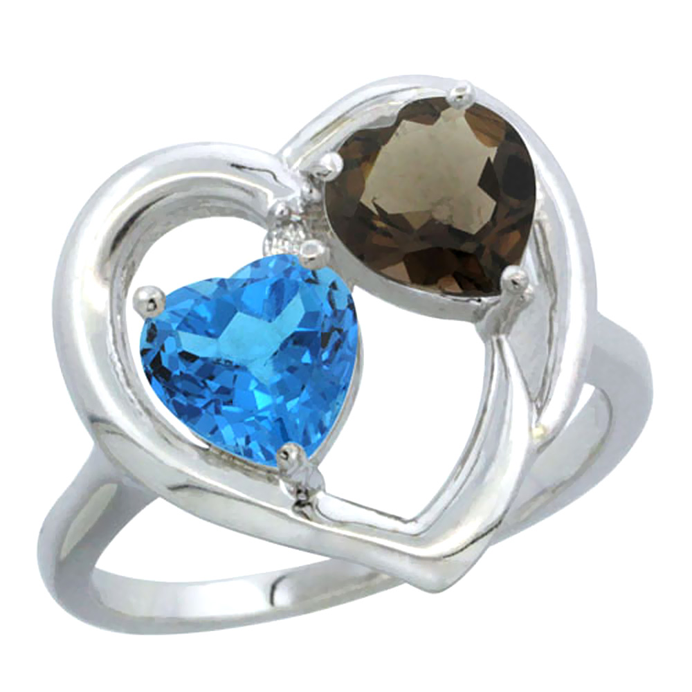 14K White Gold Diamond Two-stone Heart Ring 6mm Natural Swiss Blue & Smoky Topaz, sizes 5-10