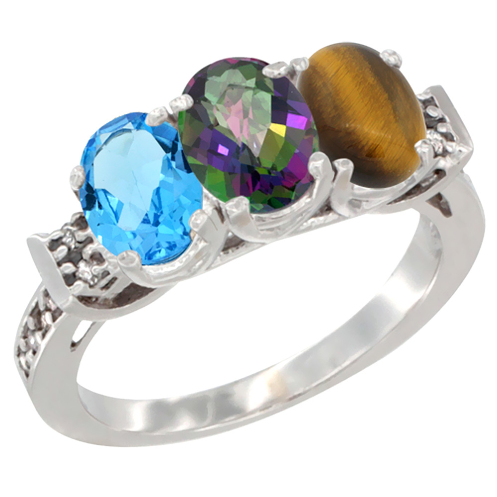 10K White Gold Natural Swiss Blue Topaz, Mystic Topaz & Tiger Eye Ring 3-Stone Oval 7x5 mm Diamond Accent, sizes 5 - 10