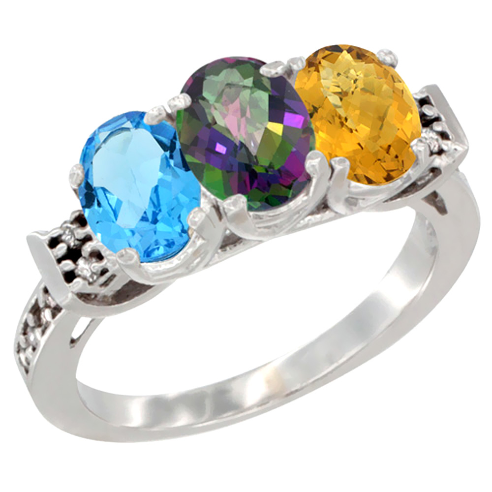 10K White Gold Natural Swiss Blue Topaz, Mystic Topaz & Whisky Quartz Ring 3-Stone Oval 7x5 mm Diamond Accent, sizes 5 - 10