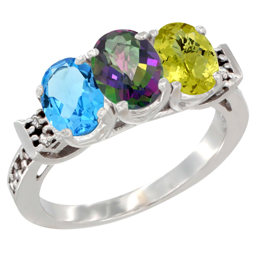 10K White Gold Natural Swiss Blue Topaz, Mystic Topaz & Lemon Quartz Ring 3-Stone Oval 7x5 mm Diamond Accent, sizes 5 - 10