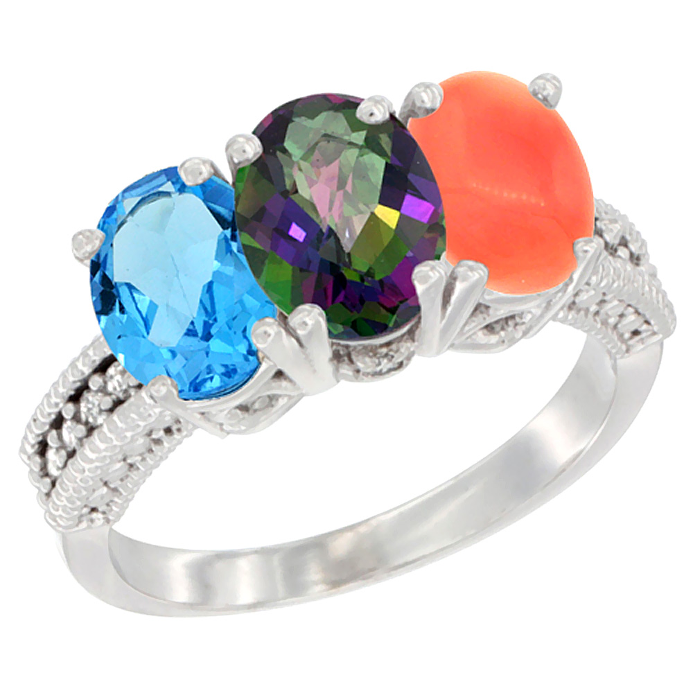 10K White Gold Natural Swiss Blue Topaz, Mystic Topaz & Coral Ring 3-Stone Oval 7x5 mm Diamond Accent, sizes 5 - 10