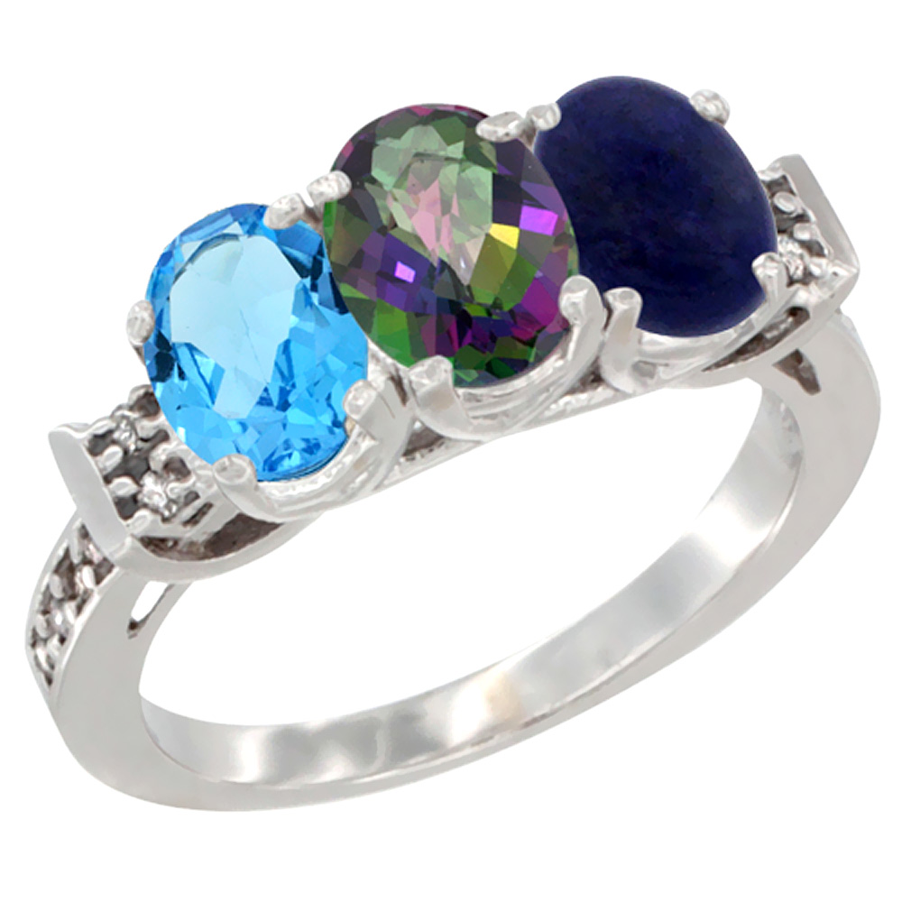 10K White Gold Natural Swiss Blue Topaz, Mystic Topaz & Lapis Ring 3-Stone Oval 7x5 mm Diamond Accent, sizes 5 - 10