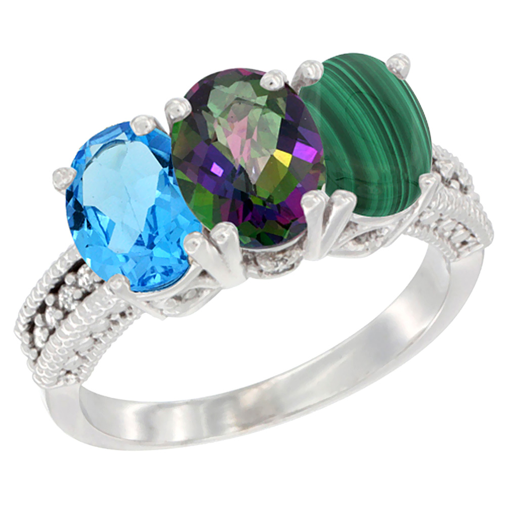 10K White Gold Natural Swiss Blue Topaz, Mystic Topaz & Malachite Ring 3-Stone Oval 7x5 mm Diamond Accent, sizes 5 - 10