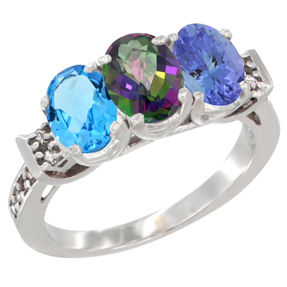 10K White Gold Natural Swiss Blue Topaz, Mystic Topaz & Tanzanite Ring 3-Stone Oval 7x5 mm Diamond Accent, sizes 5 - 10