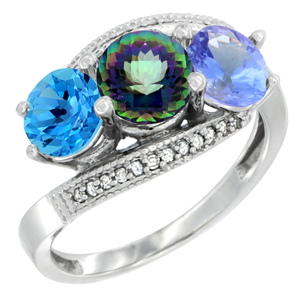 10K White Gold Natural Swiss Blue Topaz, Mystic Topaz & Tanzanite 3 stone Ring Round 6mm Diamond Accent, sizes 5 - 10