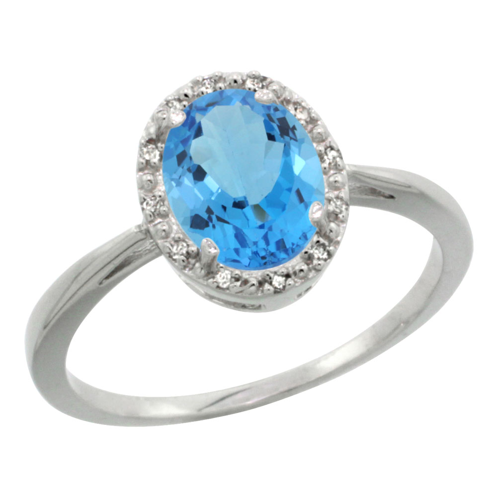 14K White Gold Natural Swiss Blue Topaz Diamond Halo Ring Oval 8X6mm, sizes 5-10