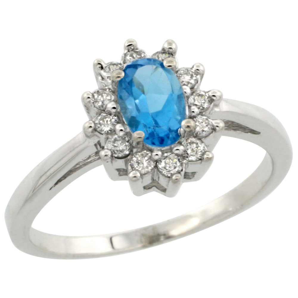 10K White Gold Natural Swiss Blue Topaz Flower Diamond Halo Ring Oval 6x4 mm, sizes 5-10