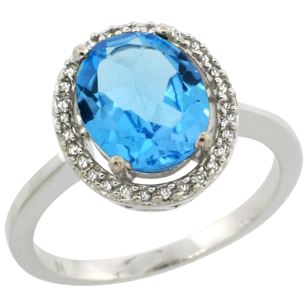 10K White Gold Diamond Halo Natural Swiss Blue Topaz Engagement Ring Oval 10x8 mm, sizes 5-10