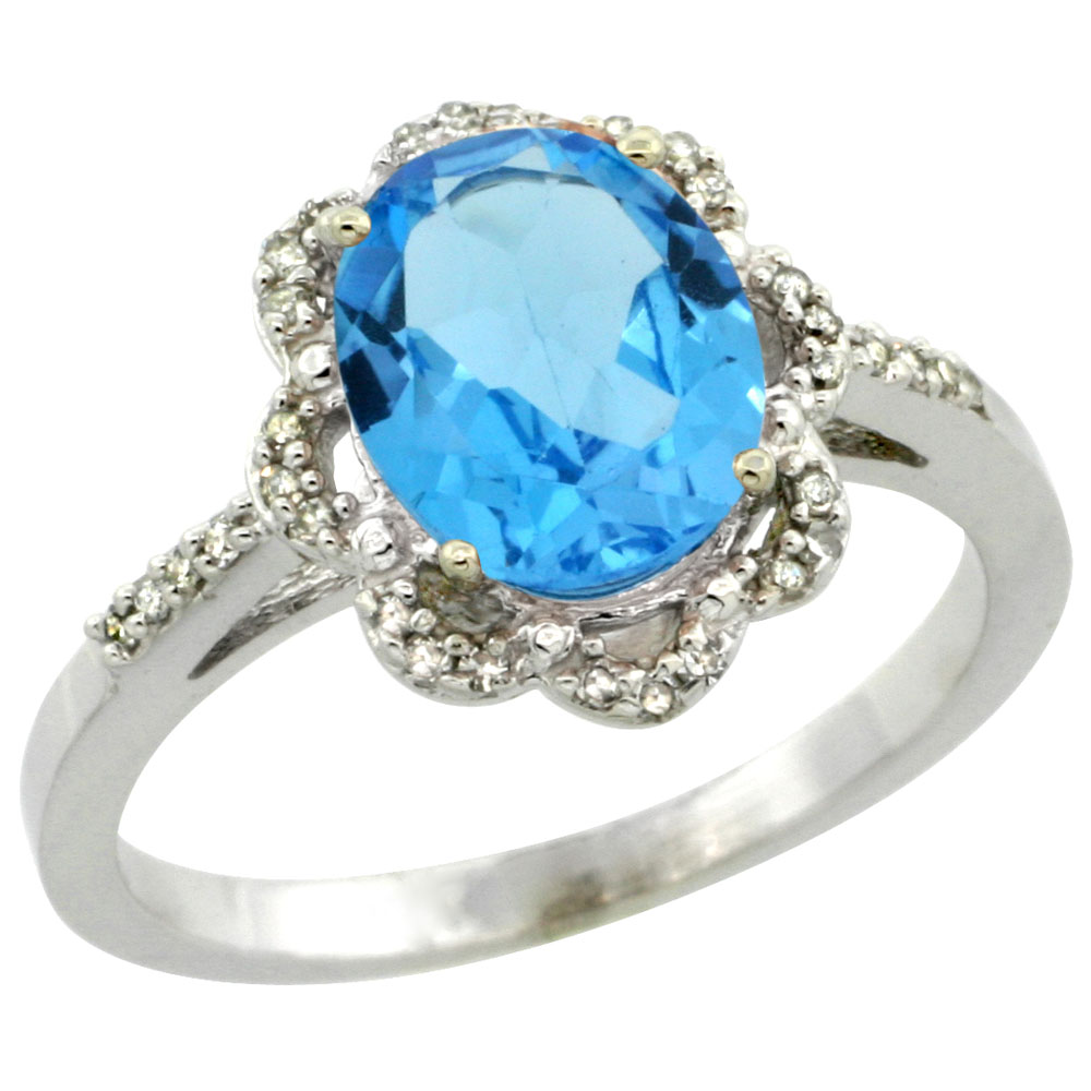 14K White Gold Diamond Halo Natural Swiss Blue Topaz Engagement Ring Oval 9x7mm, sizes 5-10