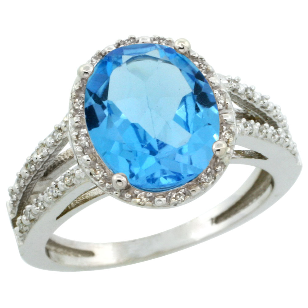 10K White Gold Diamond Natural Swiss Blue Topaz Ring Oval 11x9mm, sizes 5-10