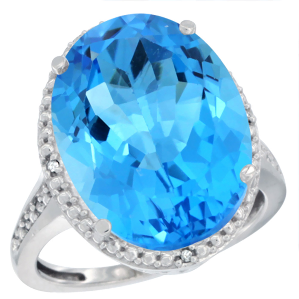 14K White Gold Diamond Natural Swiss Blue Topaz Ring Oval 18x13mm, sizes 5-10