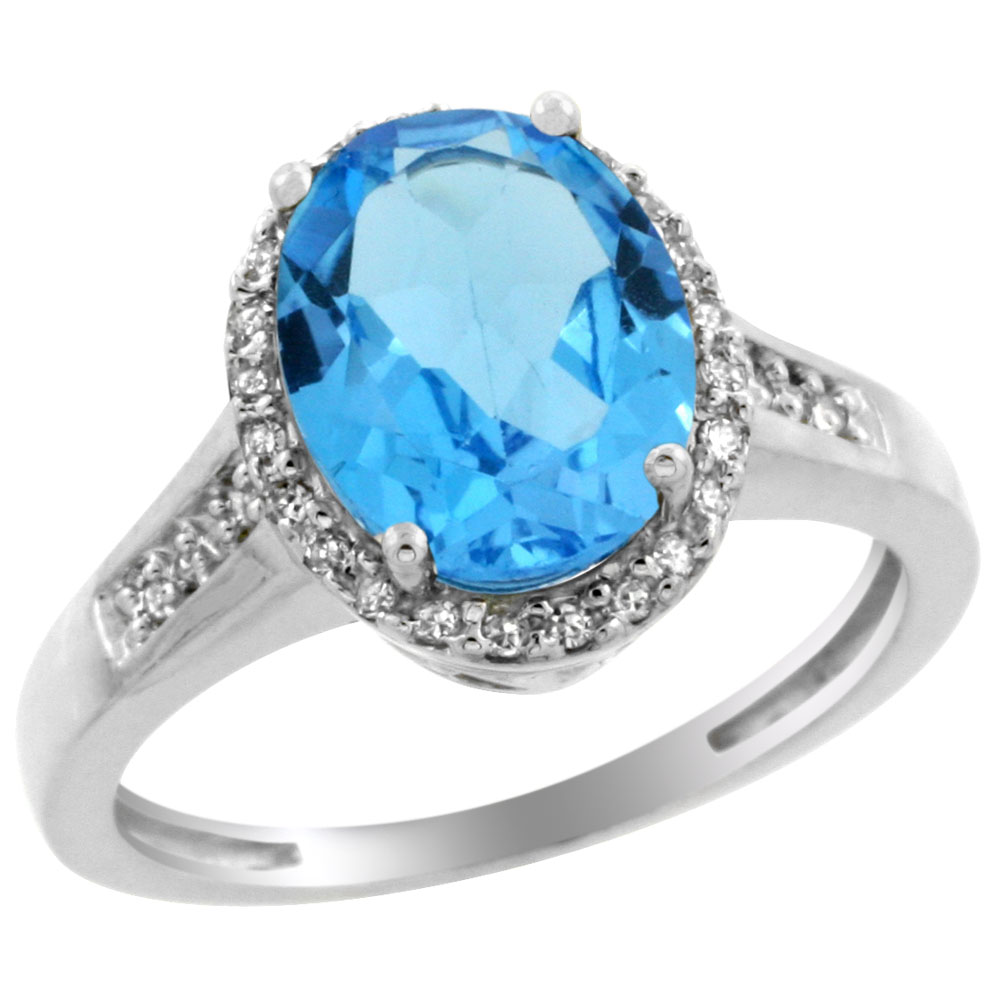 14K White Gold Diamond Natural Swiss Blue Topaz Engagement Ring Oval 10x8mm, sizes 5-10